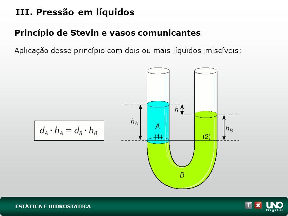 Princípio de Pascal e prensa hidráulica Numa prensa hidráulica, êmbolos com áreas diferentes suportam a mesma pressão.
