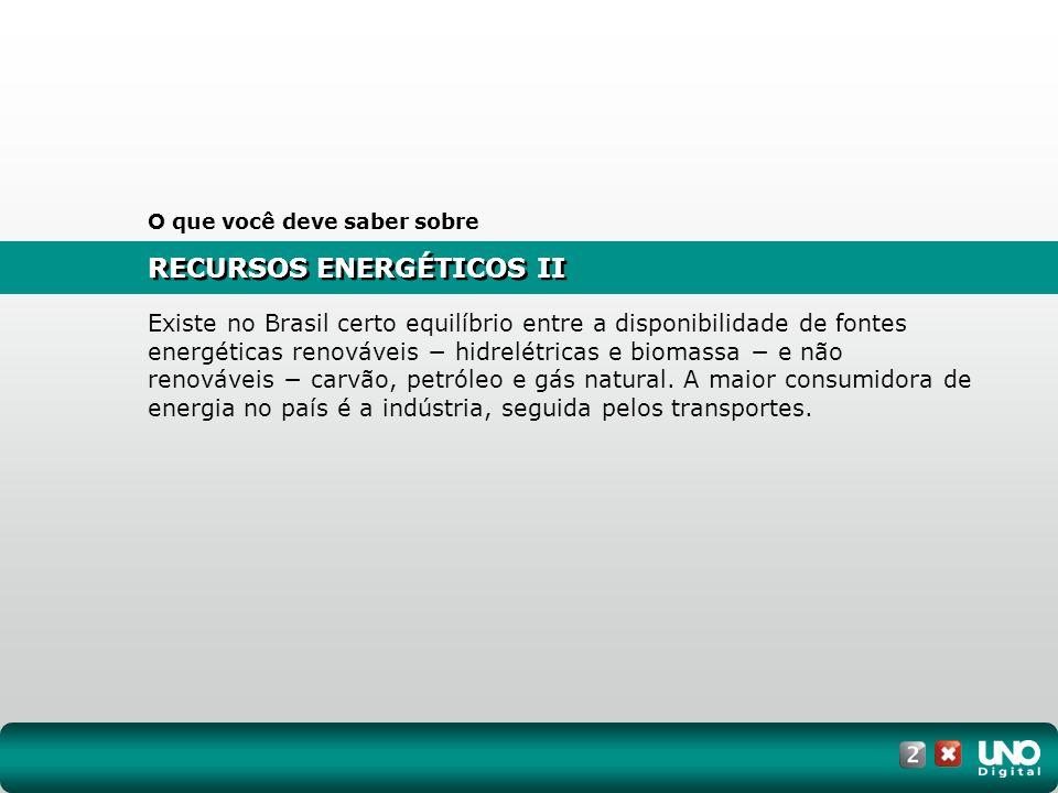 RECURSOS ENERGÉTICOS II O que você deve saber sobre Existe no Brasil certo equilíbrio entre a disponibilidade de fontes energéticas renováveis hidrelé