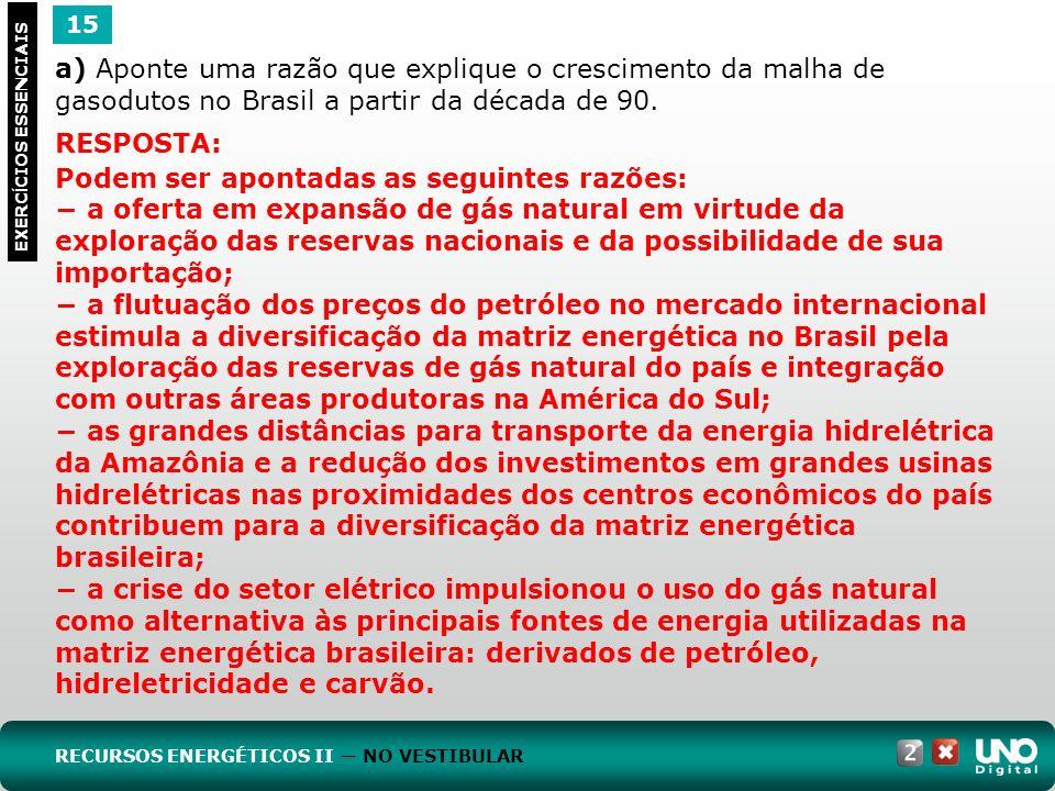 15 EXERC Í CIOS ESSENCIAIS RESPOSTA: Podem ser apontadas as seguintes razões: a oferta em expansão de gás natural em virtude da exploração das reserva
