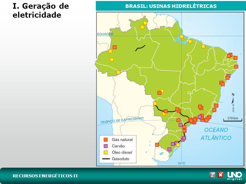 I. Geração de eletricidade RECURSOS ENERGÉTICOS II BRASIL: USINAS HIDRELÉTRICAS