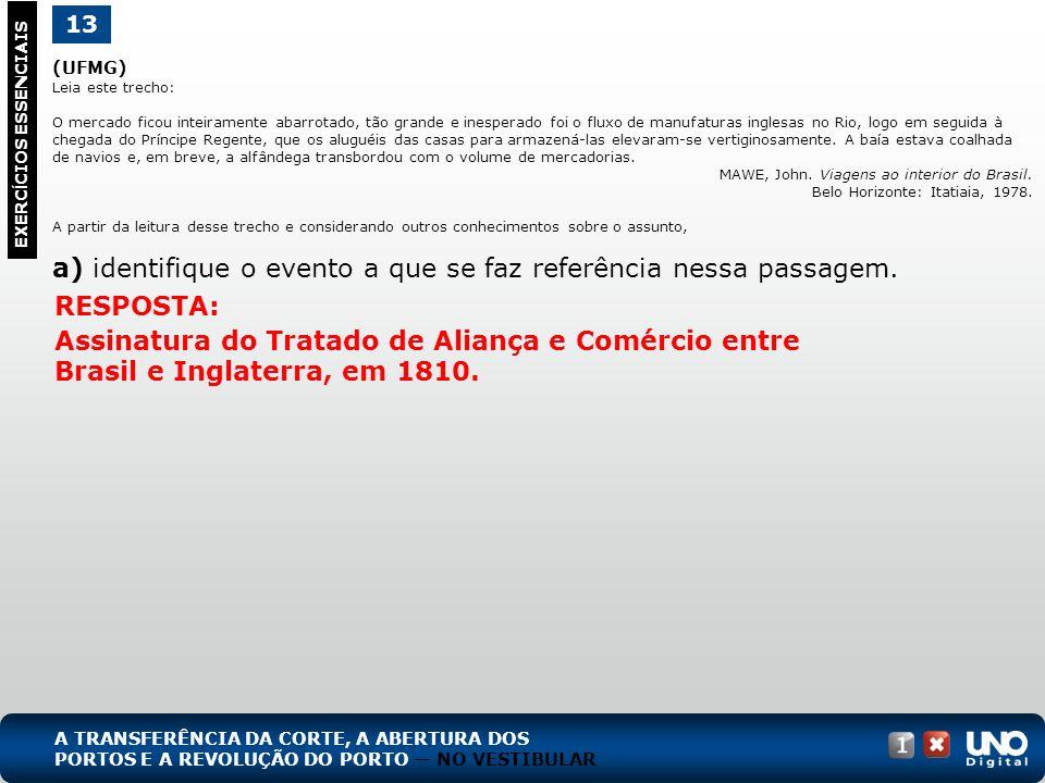 (UFMG) Leia este trecho: O mercado ficou inteiramente abarrotado, tão grande e inesperado foi o fluxo de manufaturas inglesas no Rio, logo em seguida