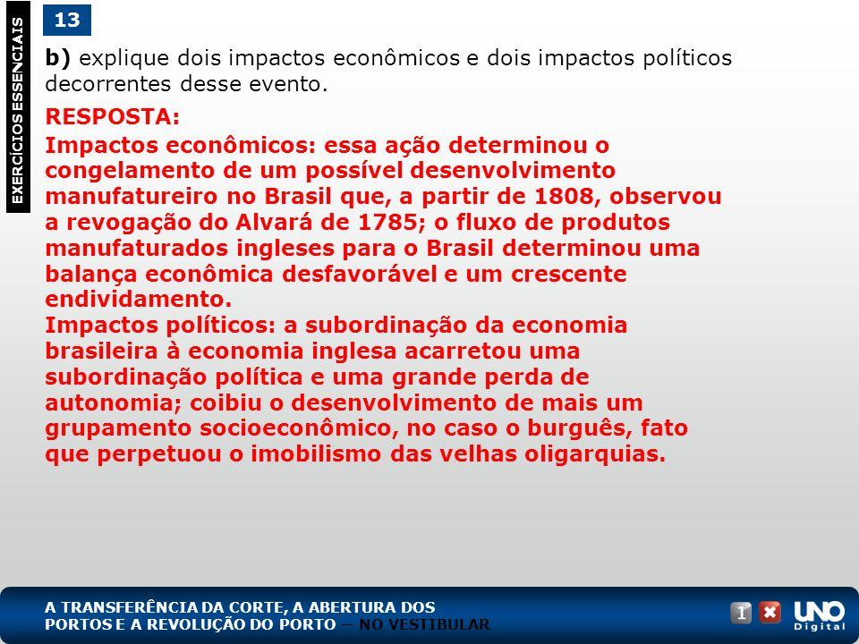 b) explique dois impactos econômicos e dois impactos políticos decorrentes desse evento. 13 EXERC Í CIOS ESSENCIAIS RESPOSTA: Impactos econômicos: ess