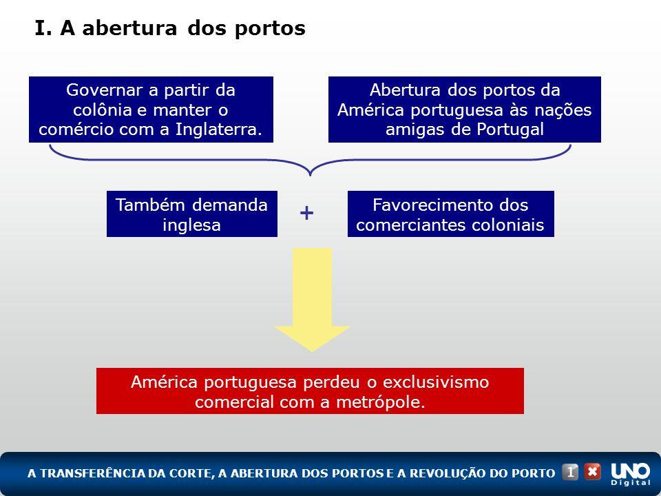 América portuguesa perdeu o exclusivismo comercial com a metrópole. I. A abertura dos portos A TRANSFERÊNCIA DA CORTE, A ABERTURA DOS PORTOS E A REVOL