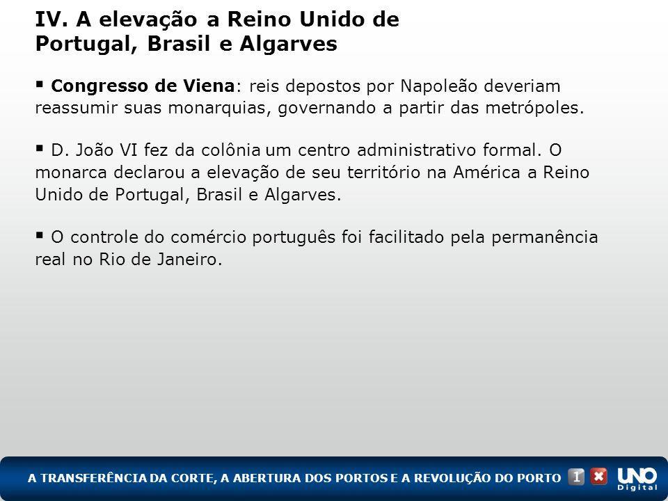 IV. A elevação a Reino Unido de Portugal, Brasil e Algarves Congresso de Viena: reis depostos por Napoleão deveriam reassumir suas monarquias, governa