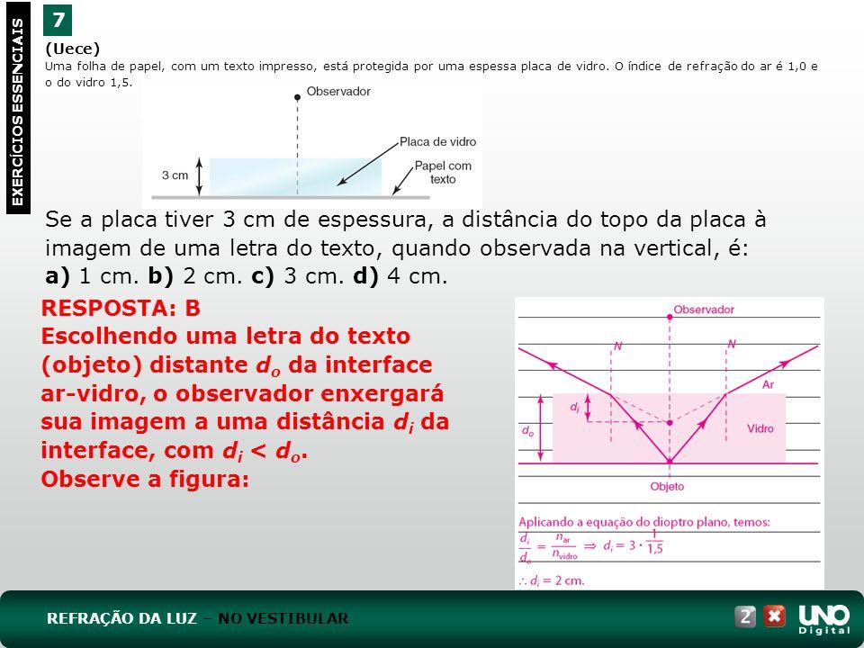 (Unifei-MG) Considere um prisma de ângulo de abertura igual a 30º, envolvido pelo ar.