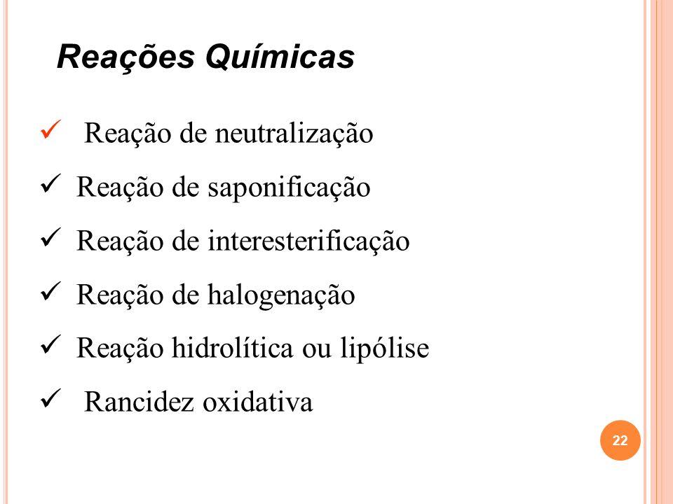 Reação de neutralização Reação de saponificação Reação de interesterificação Reação de halogenação Reação hidrolítica ou lipólise Rancidez oxidativa R