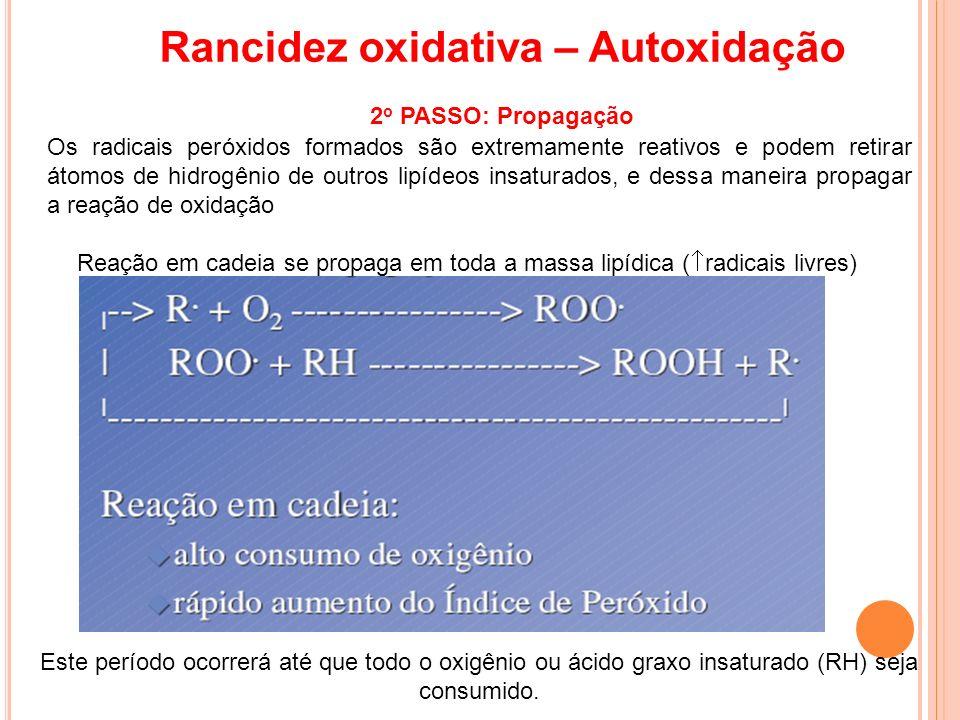 Reação em cadeia se propaga em toda a massa lipídica ( radicais livres) Rancidez oxidativa – Autoxidação 2 o PASSO: Propagação Este período ocorrerá a