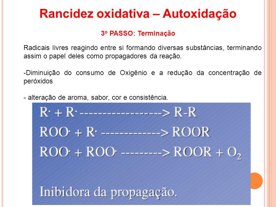 Radicais livres reagindo entre si formando diversas substâncias, terminando assim o papel deles como propagadores da reação. -Diminuição do consumo de