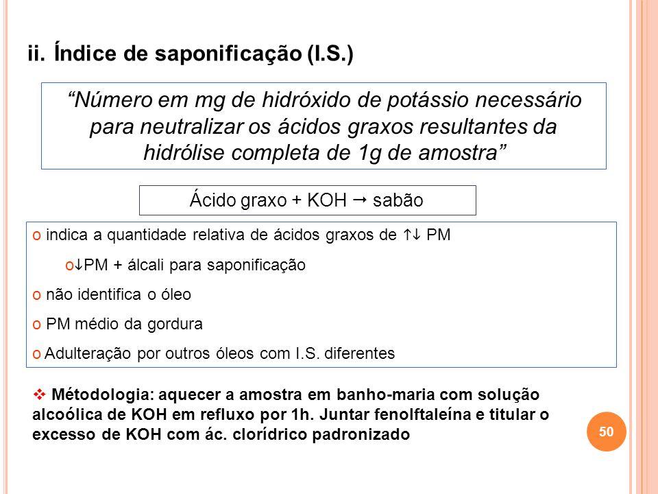 ii.Índice de saponificação (I.S.) Número em mg de hidróxido de potássio necessário para neutralizar os ácidos graxos resultantes da hidrólise completa