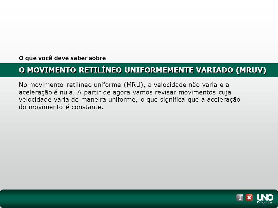 O MOVIMENTO RETILÍNEO UNIFORMEMENTE VARIADO (MRUV) I.