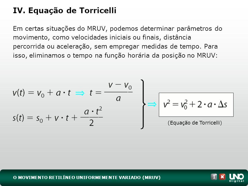 IV. Equação de Torricelli Em certas situações do MRUV, podemos determinar parâmetros do movimento, como velocidades iniciais ou finais, distância perc