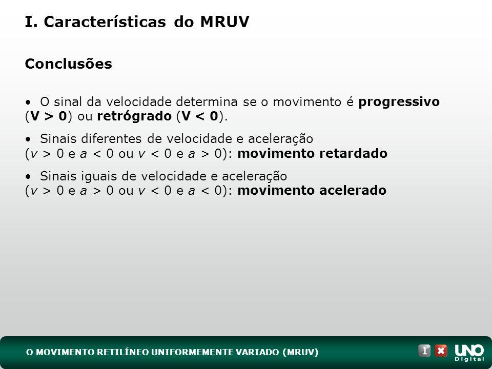 I. Características do MRUV Conclusões O sinal da velocidade determina se o movimento é progressivo (V > 0) ou retrógrado (V < 0). Sinais diferentes de