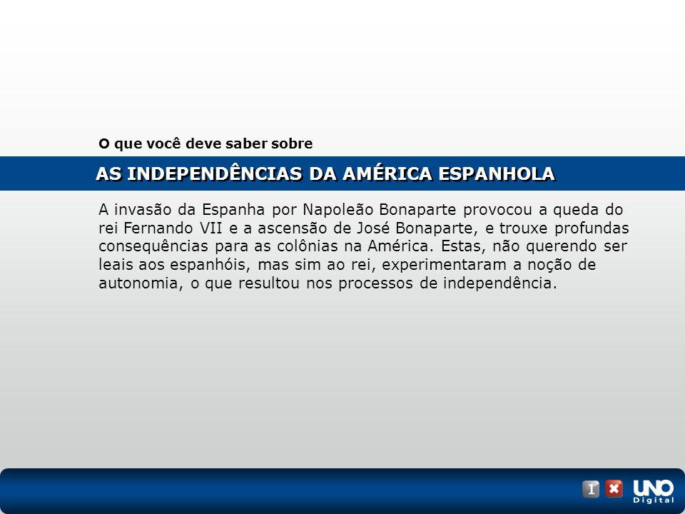 As independências na América Latina (1804-1981) Clique na imagem abaixo para ver o mapa animado.