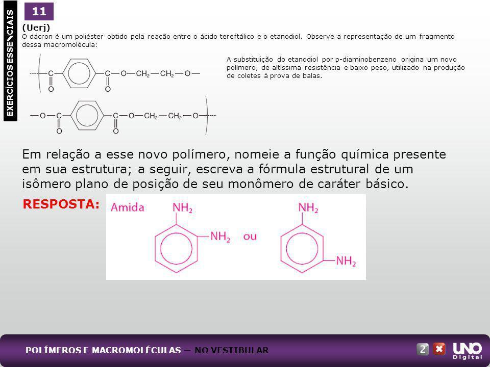(Uerj) O dácron é um poliéster obtido pela reação entre o ácido tereftálico e o etanodiol. Observe a representação de um fragmento dessa macromolécula