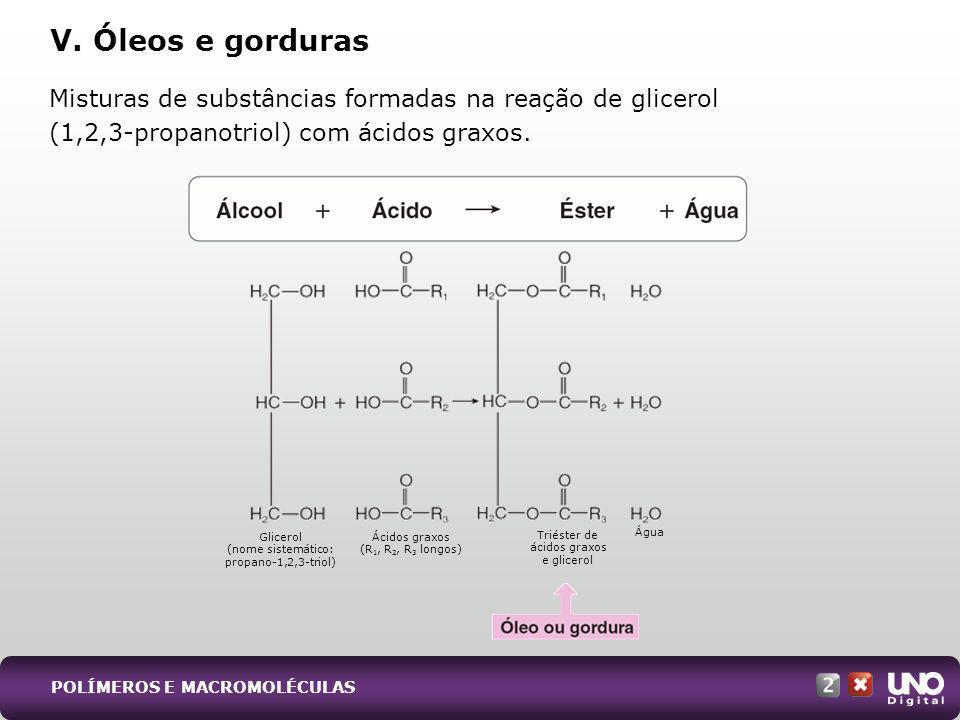 Misturas de substâncias formadas na reação de glicerol (1,2,3-propanotriol) com ácidos graxos. V. Óleos e gorduras Glicerol (nome sistemático: propano