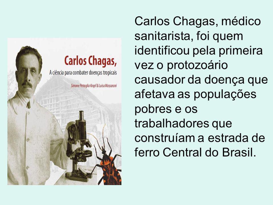 Carlos Chagas, médico sanitarista, foi quem identificou pela primeira vez o protozoário causador da doença que afetava as populações pobres e os traba