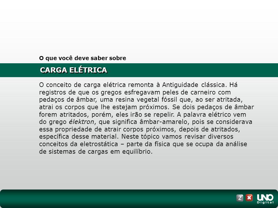 CARGA ELÉTRICA O que você deve saber sobre O conceito de carga elétrica remonta à Antiguidade clássica. Há registros de que os gregos esfregavam peles