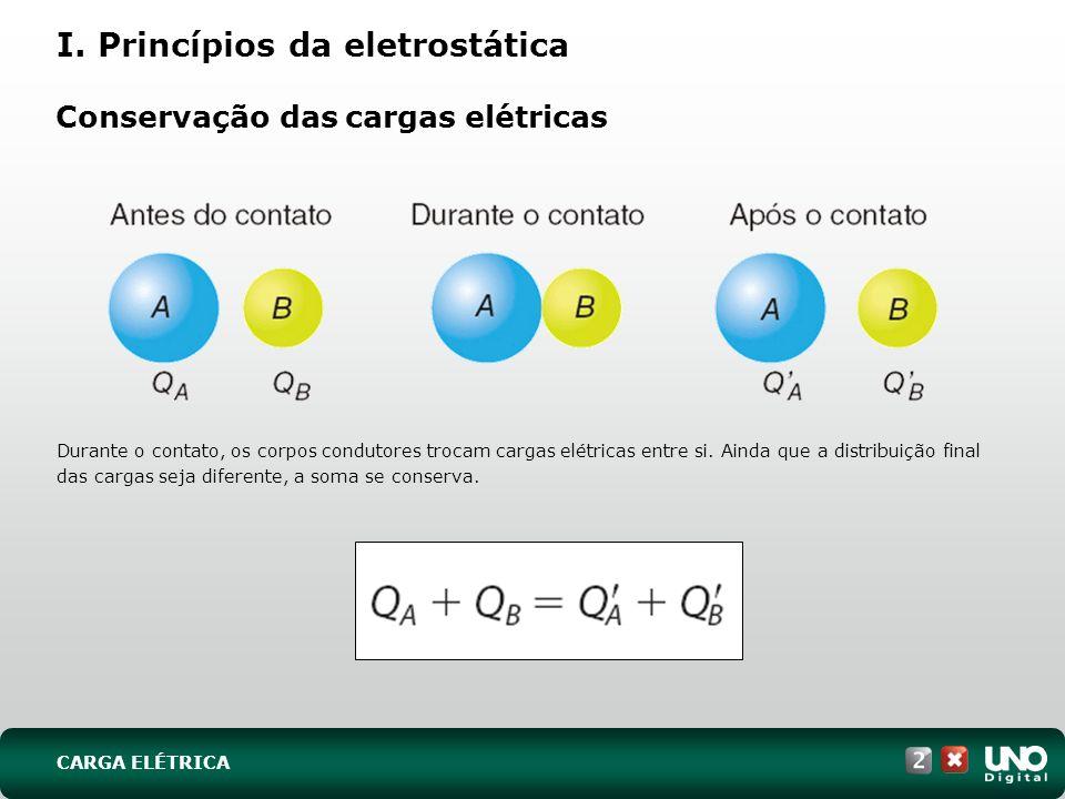 Conservação das cargas elétricas Durante o contato, os corpos condutores trocam cargas elétricas entre si. Ainda que a distribuição final das cargas s