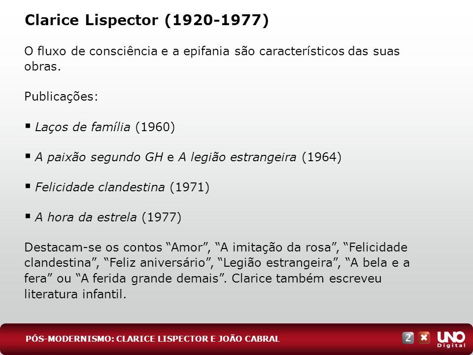 Clarice Lispector (1920-1977) O fluxo de consciência e a epifania são característicos das suas obras. Publicações: Laços de família (1960) A paixão se
