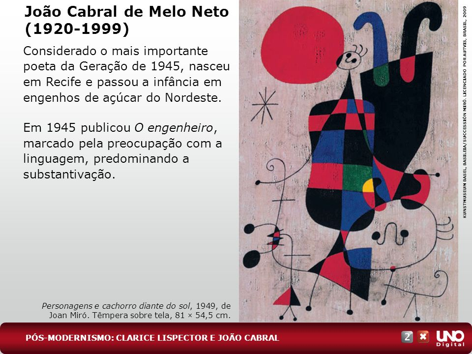 João Cabral de Melo Neto (1920-1999) Considerado o mais importante poeta da Geração de 1945, nasceu em Recife e passou a infância em engenhos de açúca