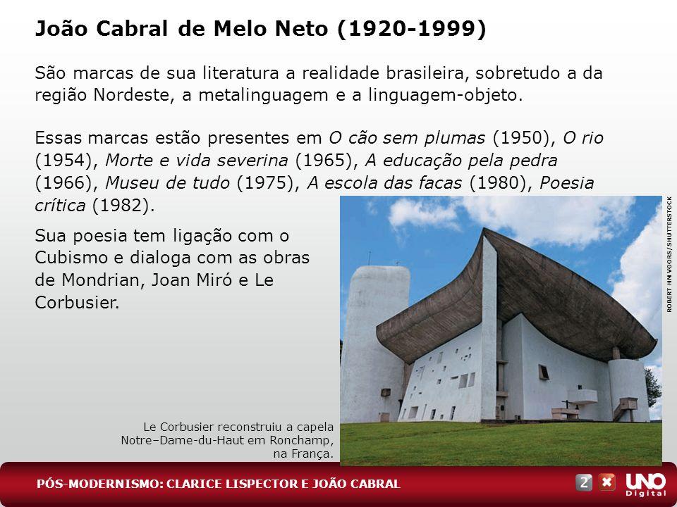 João Cabral de Melo Neto (1920-1999) São marcas de sua literatura a realidade brasileira, sobretudo a da região Nordeste, a metalinguagem e a linguage