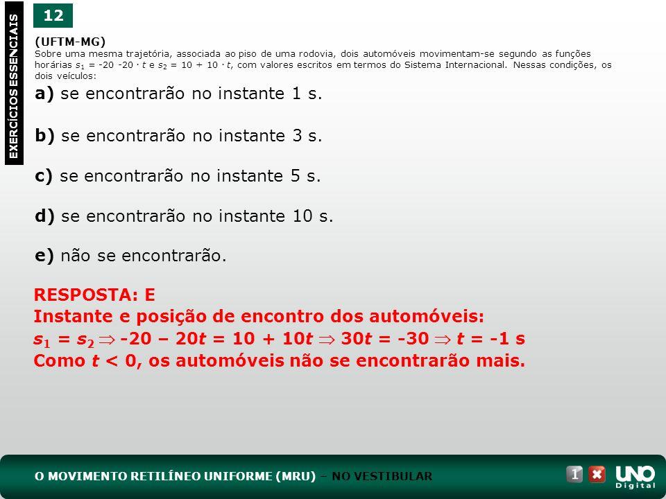 (UFTM-MG) Sobre uma mesma trajetória, associada ao piso de uma rodovia, dois automóveis movimentam-se segundo as funções horárias s 1 = -20 -20.