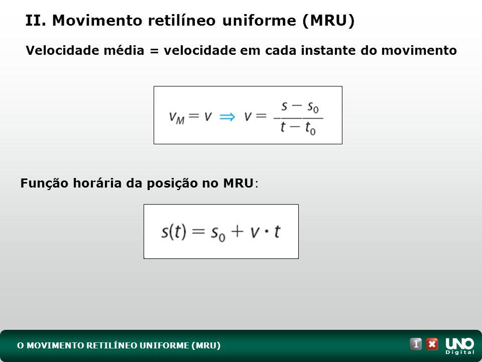 II. Movimento retilíneo uniforme (MRU) O MOVIMENTO RETILÍNEO UNIFORME (MRU) Função horária da posição no MRU: Velocidade média = velocidade em cada in