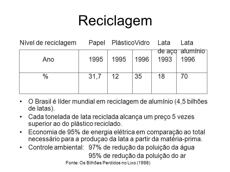 Reciclagem Nível de reciclagemPapelPlásticoVidroLata Lata de açoalumínio Ano19951995199619931996 %31,712351870 O Brasil é líder mundial em reciclagem