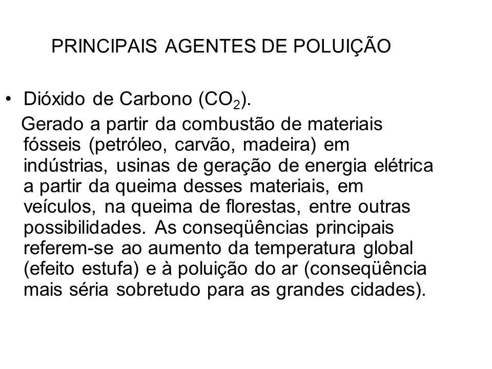 PRINCIPAIS AGENTES DE POLUIÇÃO Dióxido de Carbono (CO 2 ). Gerado a partir da combustão de materiais fósseis (petróleo, carvão, madeira) em indústrias