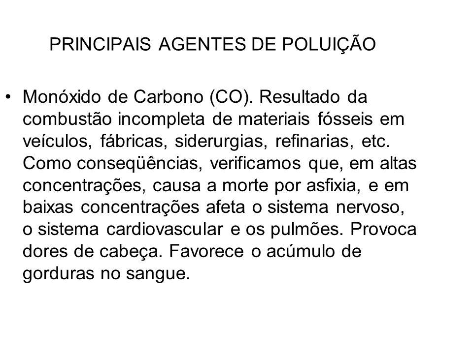 PRINCIPAIS AGENTES DE POLUIÇÃO Monóxido de Carbono (CO). Resultado da combustão incompleta de materiais fósseis em veículos, fábricas, siderurgias, re