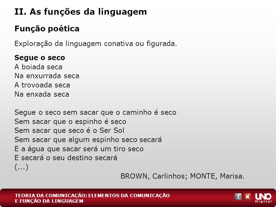 II. As funções da linguagem Função poética Exploração da linguagem conativa ou figurada. Segue o seco A boiada seca Na enxurrada seca A trovoada seca