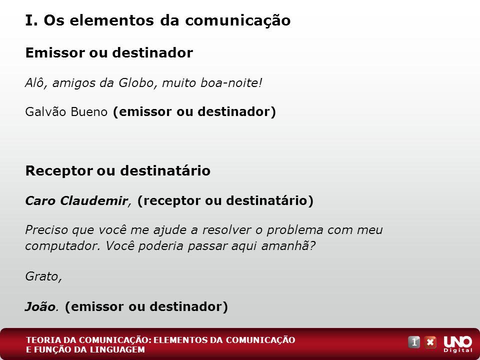 Emissor ou destinador Alô, amigos da Globo, muito boa-noite! Galvão Bueno (emissor ou destinador) Receptor ou destinatário Caro Claudemir, (receptor o