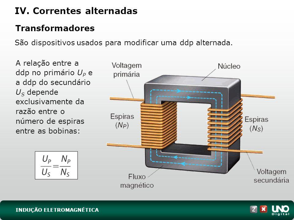 Transformadores São dispositivos usados para modificar uma ddp alternada.