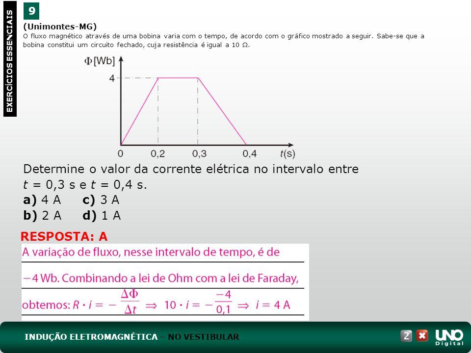 (Unimontes-MG) O fluxo magnético através de uma bobina varia com o tempo, de acordo com o gráfico mostrado a seguir.