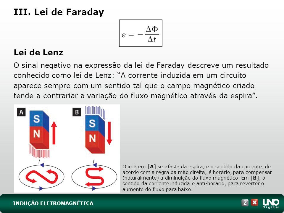 III. Lei de Faraday Lei de Lenz O sinal negativo na expressão da lei de Faraday descreve um resultado conhecido como lei de Lenz: A corrente induzida