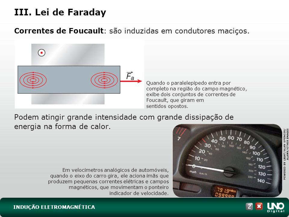 Correntes de Foucault: são induzidas em condutores maciços.
