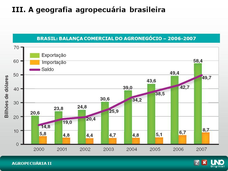 III. A geografia agropecuária brasileira AGROPECUÁRIA II BRASIL: BALANÇA COMERCIAL DO AGRONEGÓCIO – 2006-2007