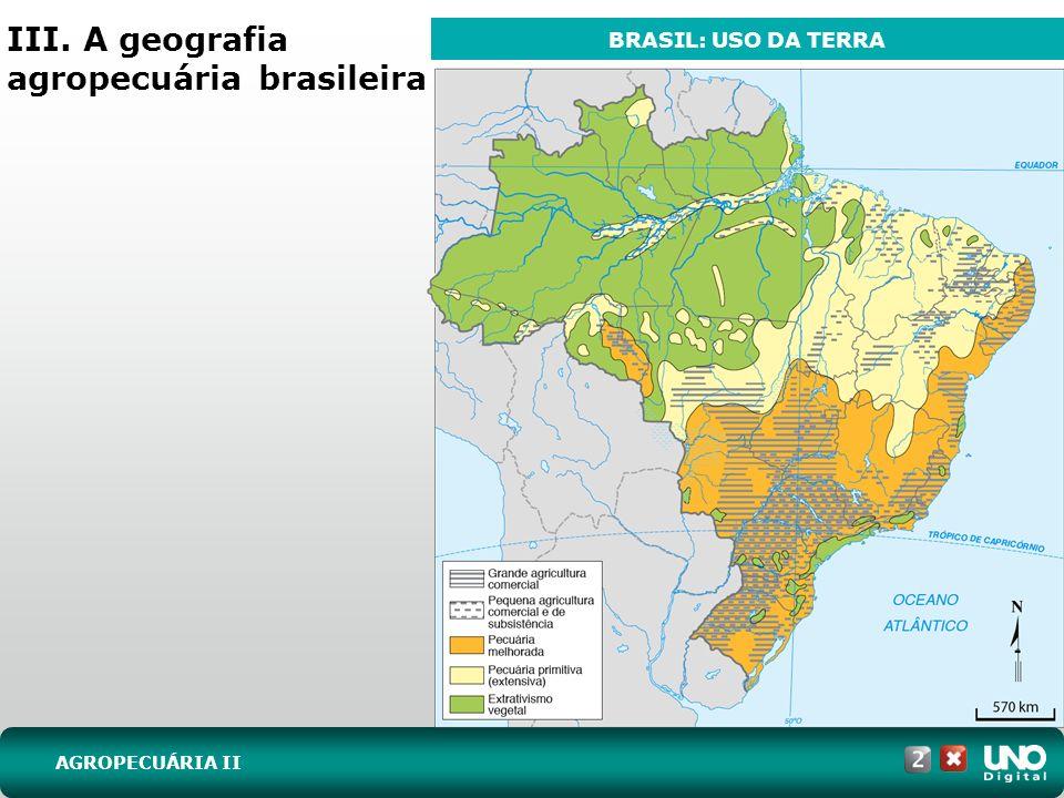 III. A geografia agropecuária brasileira AGROPECUÁRIA II BRASIL: USO DA TERRA