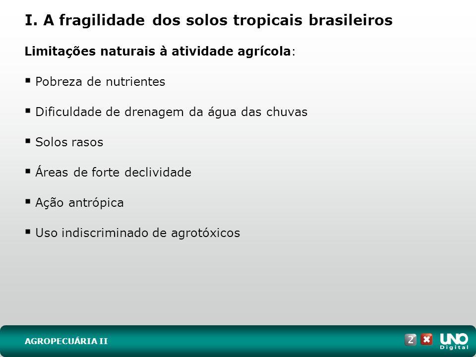 I. A fragilidade dos solos tropicais brasileiros AGROPECUÁRIA II Limitações naturais à atividade agrícola: Pobreza de nutrientes Dificuldade de drenag