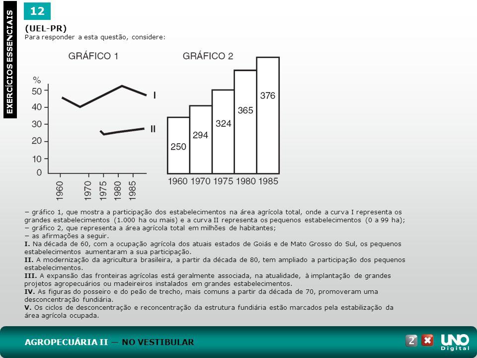12 EXERC Í CIOS ESSENCIAIS (UEL-PR) Para responder a esta questão, considere: gráfico 1, que mostra a participação dos estabelecimentos na área agríco