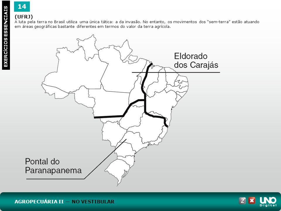 14 EXERC Í CIOS ESSENCIAIS (UFRJ) A luta pela terra no Brasil utiliza uma única tática: a da invasão. No entanto, os movimentos dos sem-terra estão at