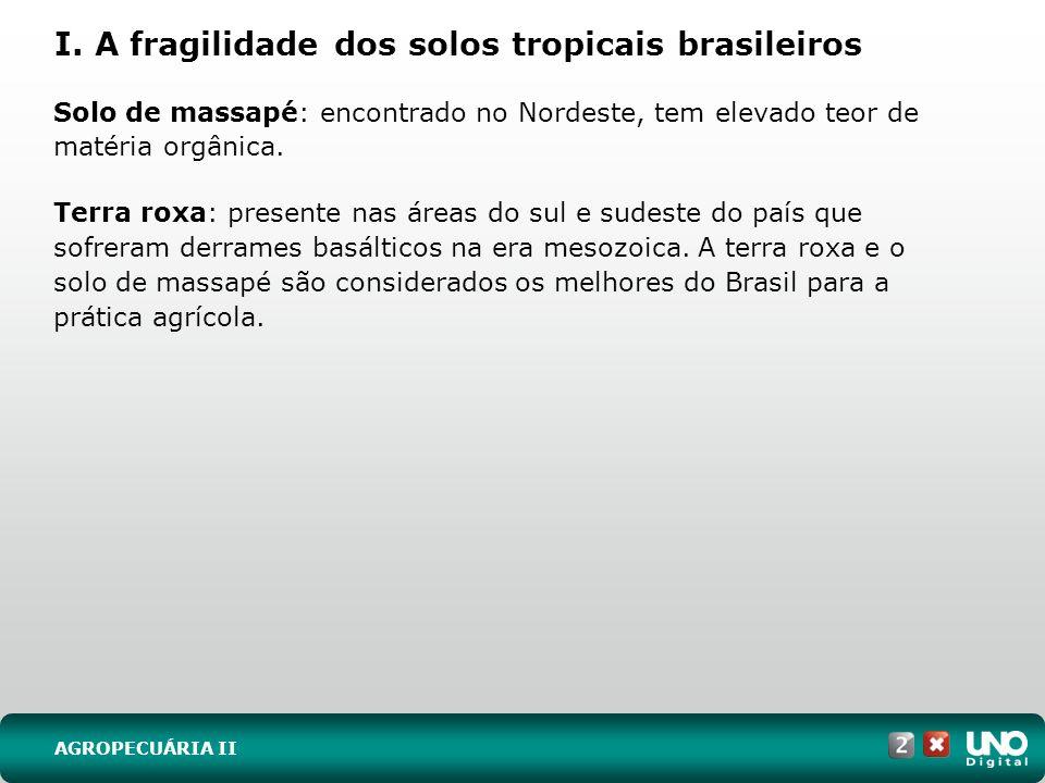 I. A fragilidade dos solos tropicais brasileiros Solo de massapé: encontrado no Nordeste, tem elevado teor de matéria orgânica. Terra roxa: presente n