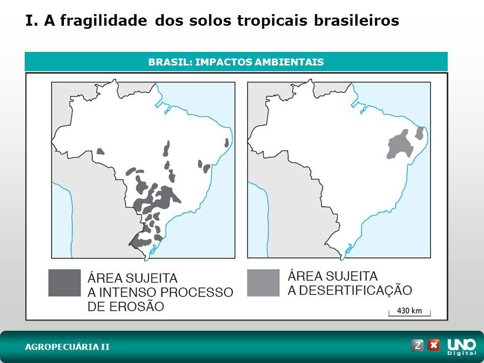 I. A fragilidade dos solos tropicais brasileiros AGROPECUÁRIA II BRASIL: IMPACTOS AMBIENTAIS