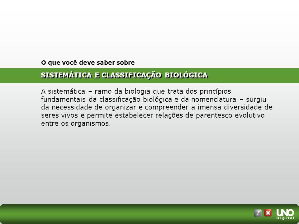 SISTEMÁTICA E CLASSIFICAÇÃO BIOLÓGICA O que você deve saber sobre A sistemática – ramo da biologia que trata dos princípios fundamentais da classifica