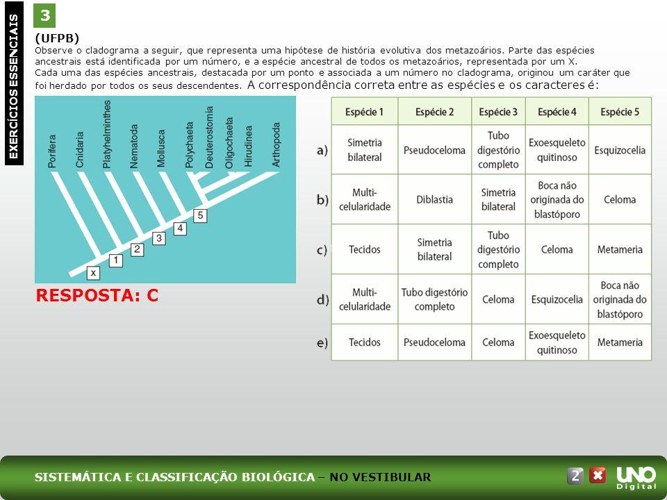 (UFPB) Observe o cladograma a seguir, que representa uma hipótese de história evolutiva dos metazoários. Parte das espécies ancestrais está identifica