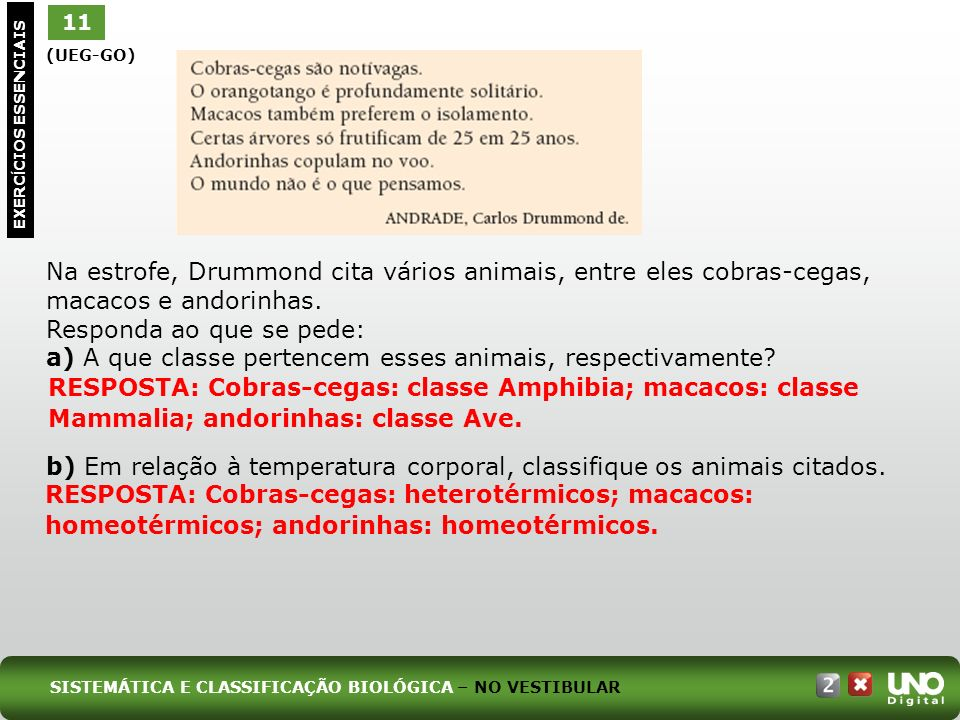 11 EXERC Í CIOS ESSENCIAIS (UEG-GO) Na estrofe, Drummond cita vários animais, entre eles cobras-cegas, macacos e andorinhas. Responda ao que se pede: