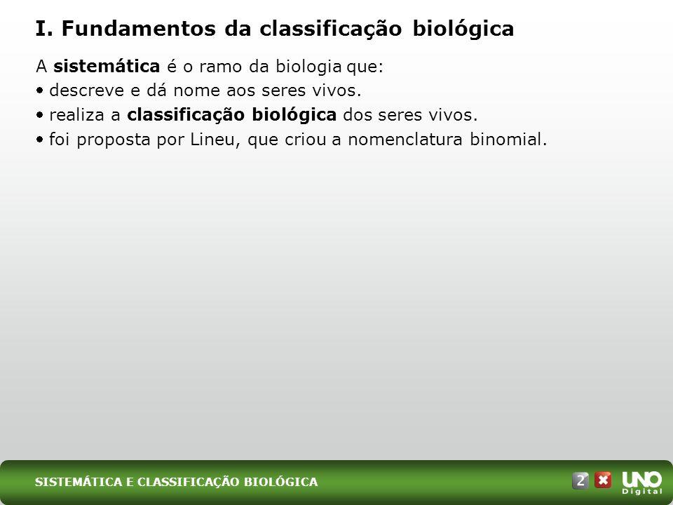 SISTEMÁTICA E CLASSIFICAÇÃO BIOLÓGICA A sistemática é o ramo da biologia que: descreve e dá nome aos seres vivos. realiza a classificação biológica do
