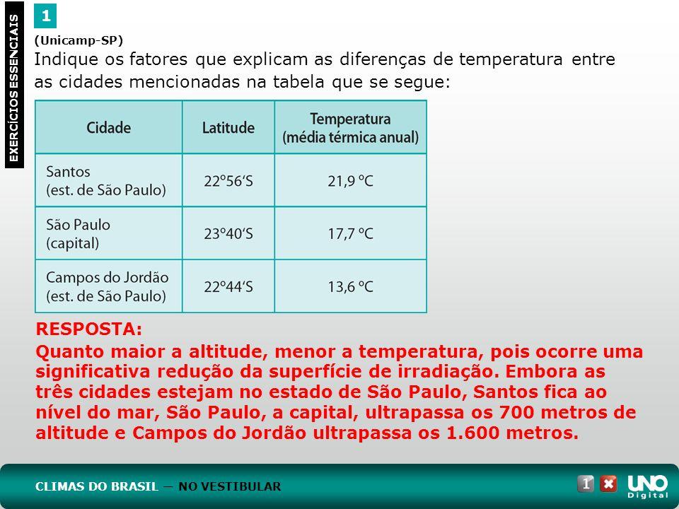 (Unicamp-SP) Indique os fatores que explicam as diferenças de temperatura entre as cidades mencionadas na tabela que se segue: 1 EXERC Í CIOS ESSENCIA