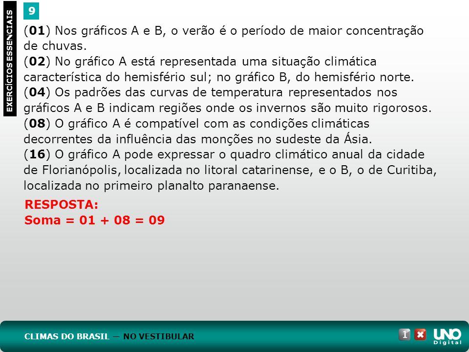(01) Nos gráficos A e B, o verão é o período de maior concentração de chuvas. (02) No gráfico A está representada uma situação climática característic