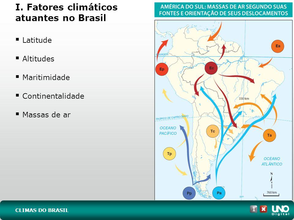 Latitude Altitudes Maritimidade Continentalidade Massas de ar I. Fatores climáticos atuantes no Brasil CLIMAS DO BRASIL